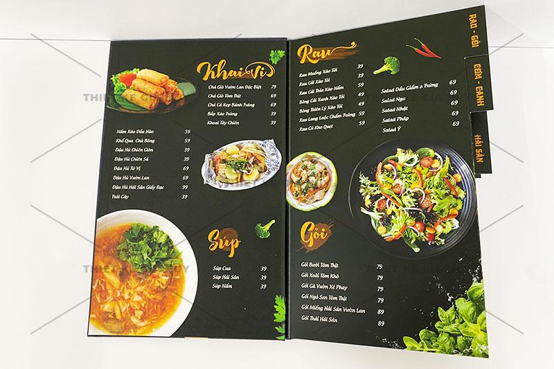 mẫu thiết kế menu bìa cứng đóng gáy ốc siêu đẹp