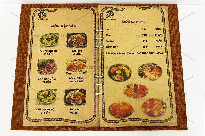 Mẫu menu bìa vải đóng gáy còng của nhà hàng Vị Biển