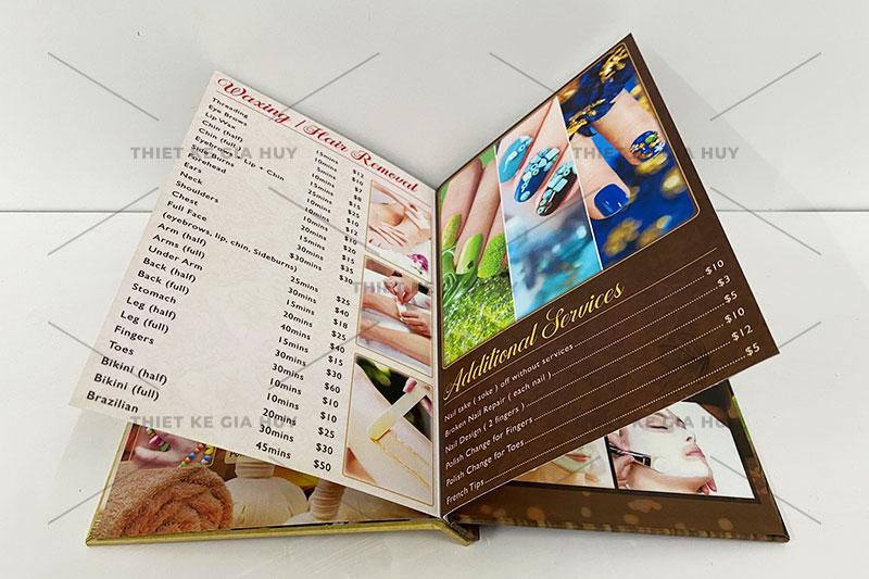 mẫu thiết kế menu nails spa phong cách cổ điển