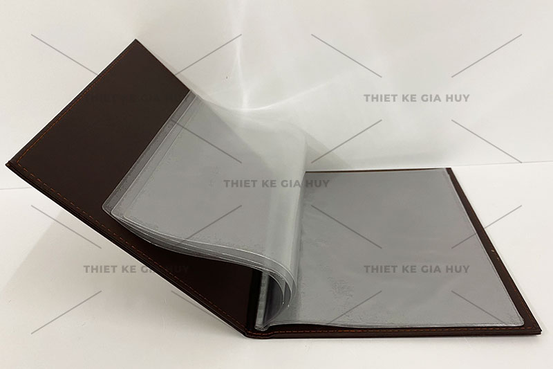 Bìa da với ruột menu được ép lá nhựa từ 10 - 20 lá hoặc hơn