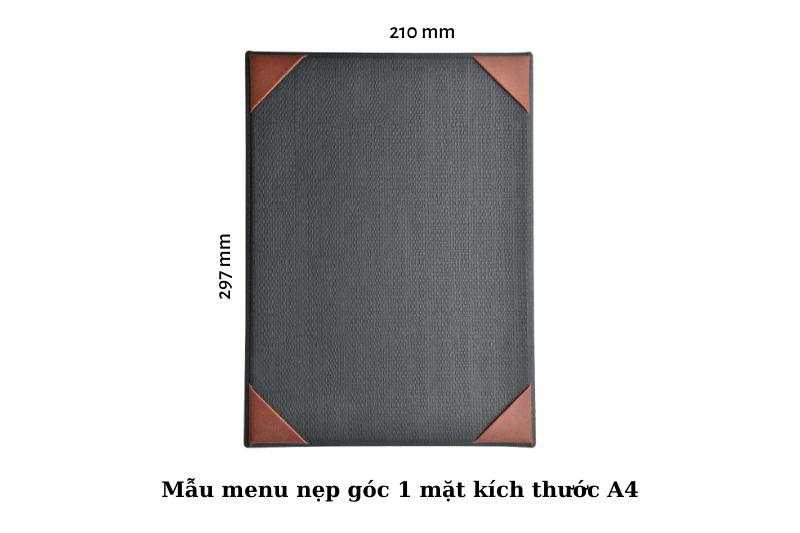 Mẫu menu bìa da nẹp góc kích thước A4