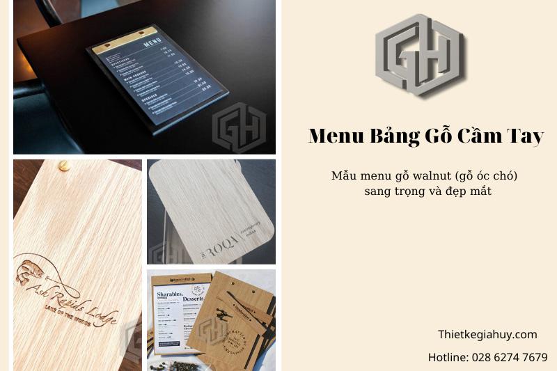 menu bảng gỗ cầm tay A4