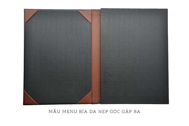 mẫu menu bìa da nẹp góc gập ba
